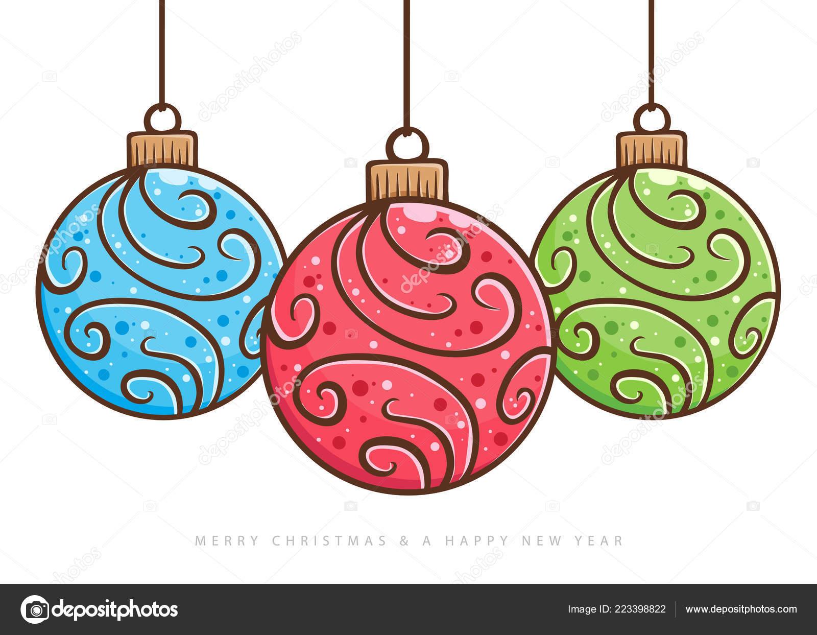 Dessin Boule De Noel.Trois Décoration Boule Noël Isolé Sur Fond Blanc Main Dessin
