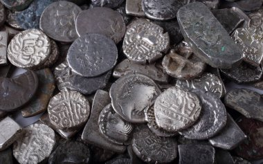 Ancient Greek, Indian and Roman coins background
