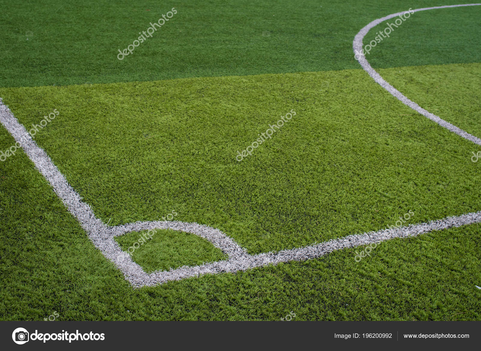 green grass football field short grass football field futsal green grass corner footbal stock photo