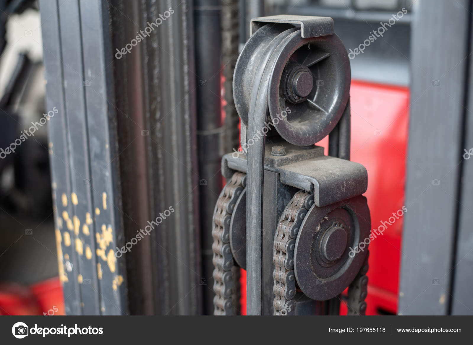 Close Pulley System Forklift — Stock Photo © pakphoto #197655118