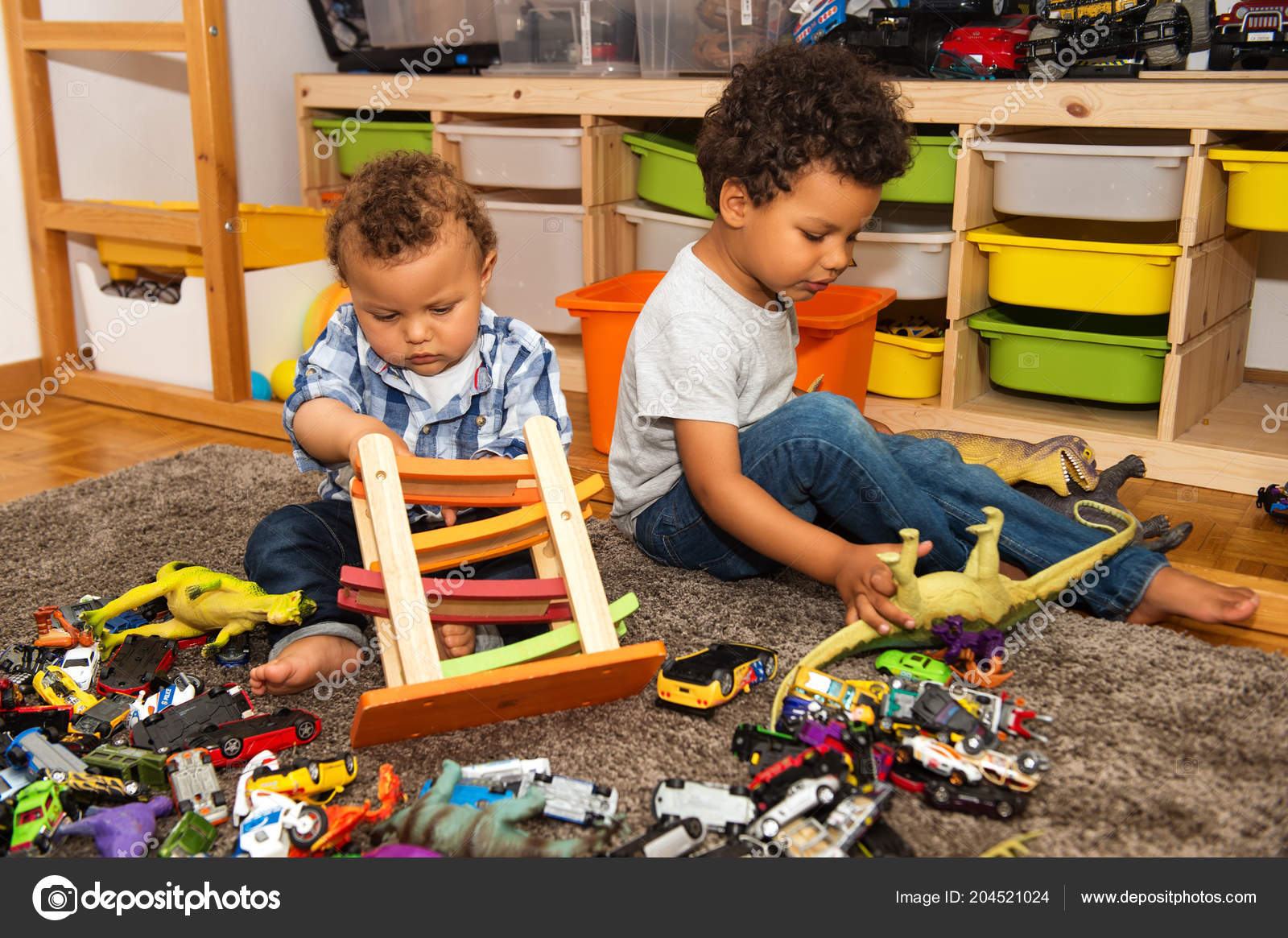 Two Funny Messy Baby Brothers Playing Together Kids Room ...