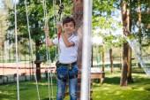 Příjemné nedospělý kluk baví na lanový park