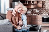 Pozitivní radost pár zíral na počítači