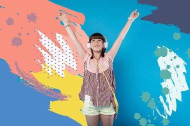 Vigorous happy girl delighting music