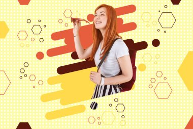 Heading to university. Smiling red-haired student with backpack and sunglasses heading to university standing near graphic ground