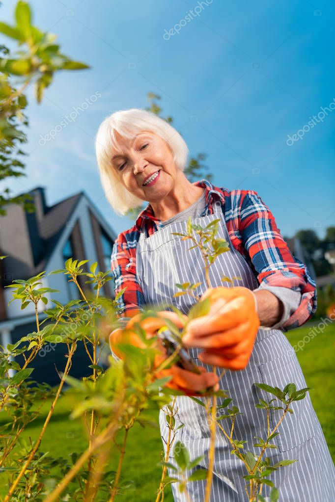 High-spirited smiling lady feeling great while spending time in the garden
