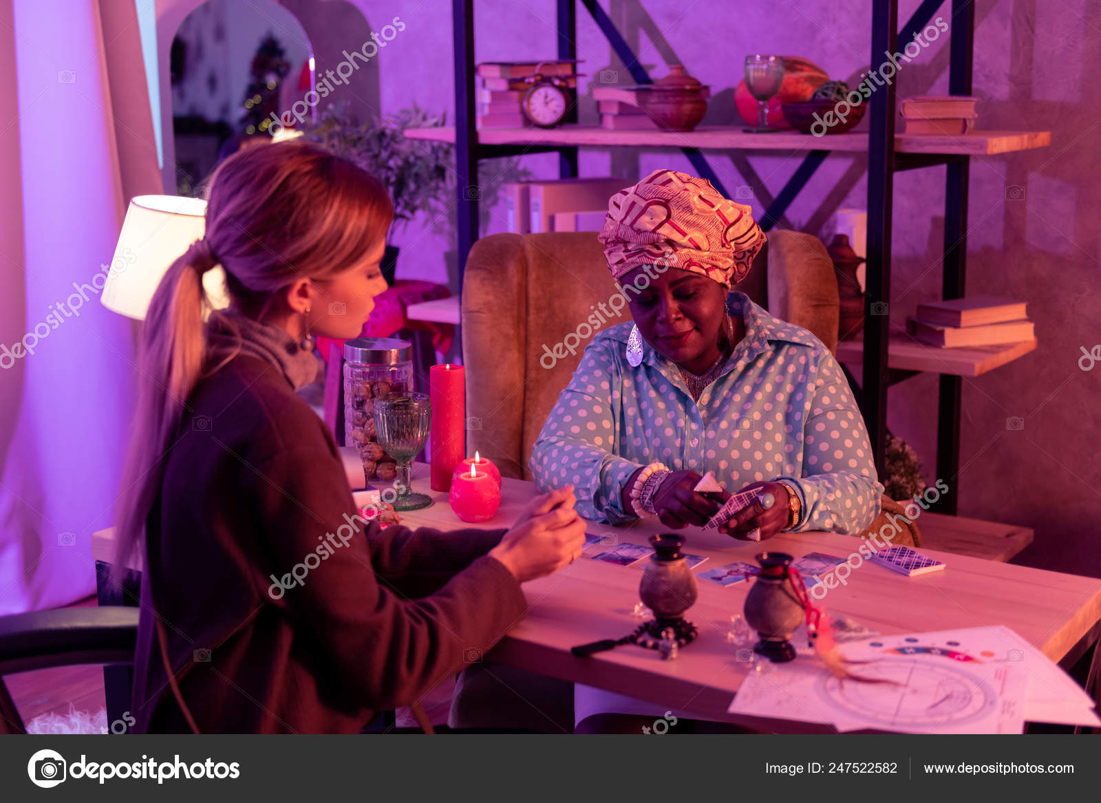 African american plump fortune-teller with a huge ring