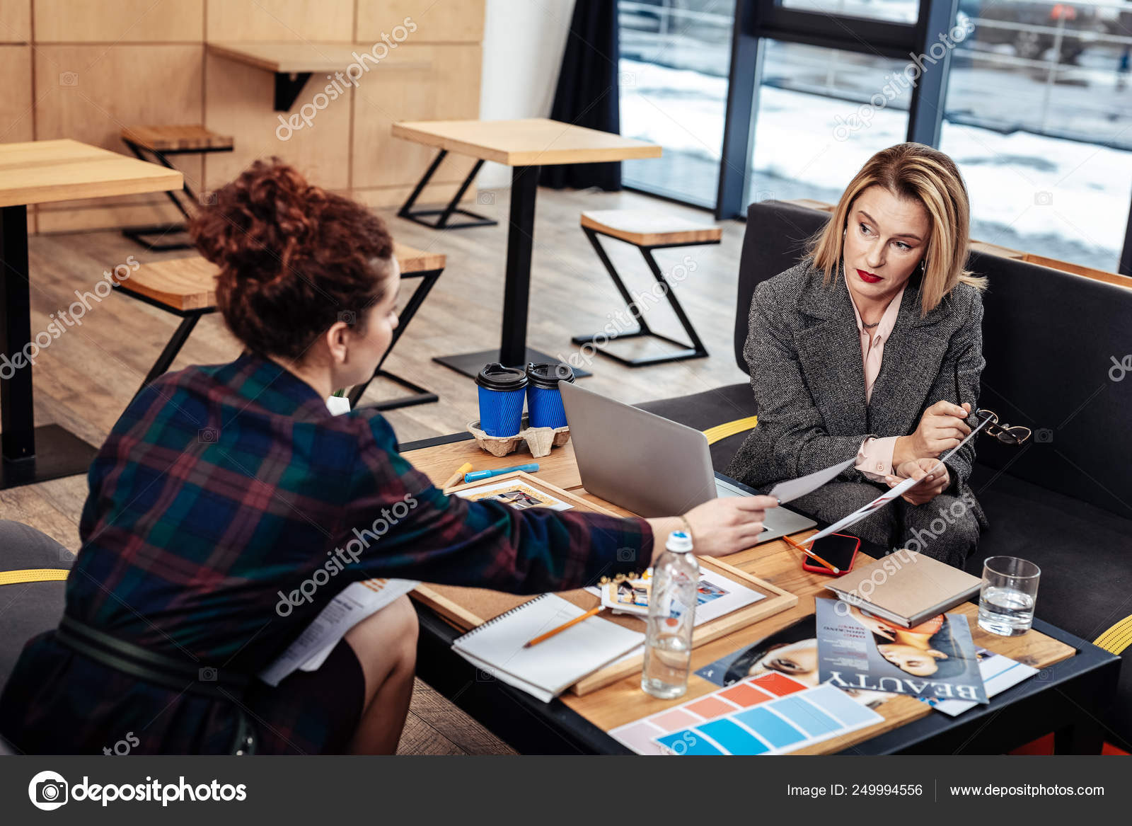 Personal Assistant Helping Her Busy Hard Working Female Boss Stock Photo C Dmyrto Z 249994556