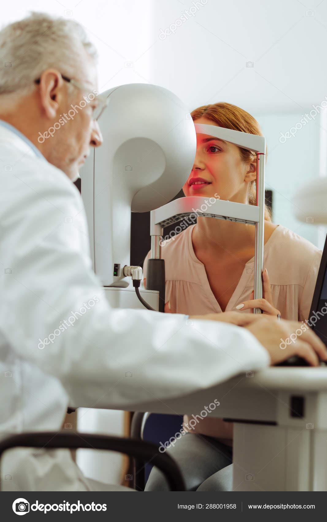 Eye Specialist Using Modern Technology For Eye Examination Stock Photo C Dmyrto Z 288001958
