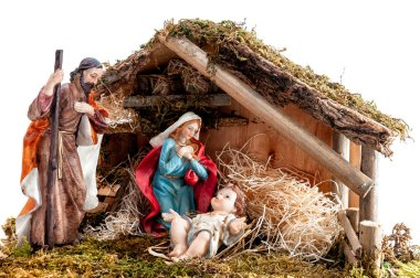 Christmas nativity scene. Hut with baby Jesus in the manger, with Mary and Joseph. Isolated on white background.