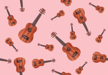 Seamless background with ukulele guitars