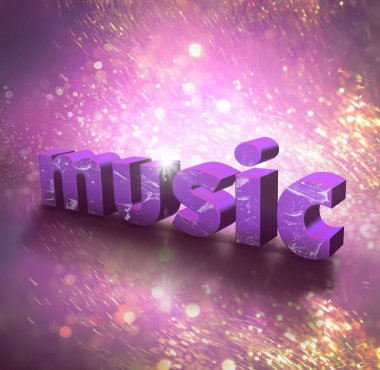 3d render of music inscription on pink background with sparkles
