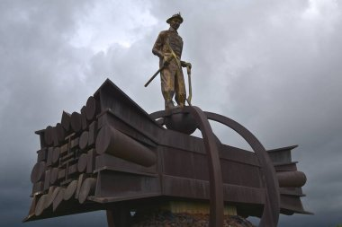 CHISHOLM, MINNESOTA, June 16, 2018:  The Iron Man Miners Memorial by John Anderson, dedicated in 1987 is found in the mining town of Chisholm.