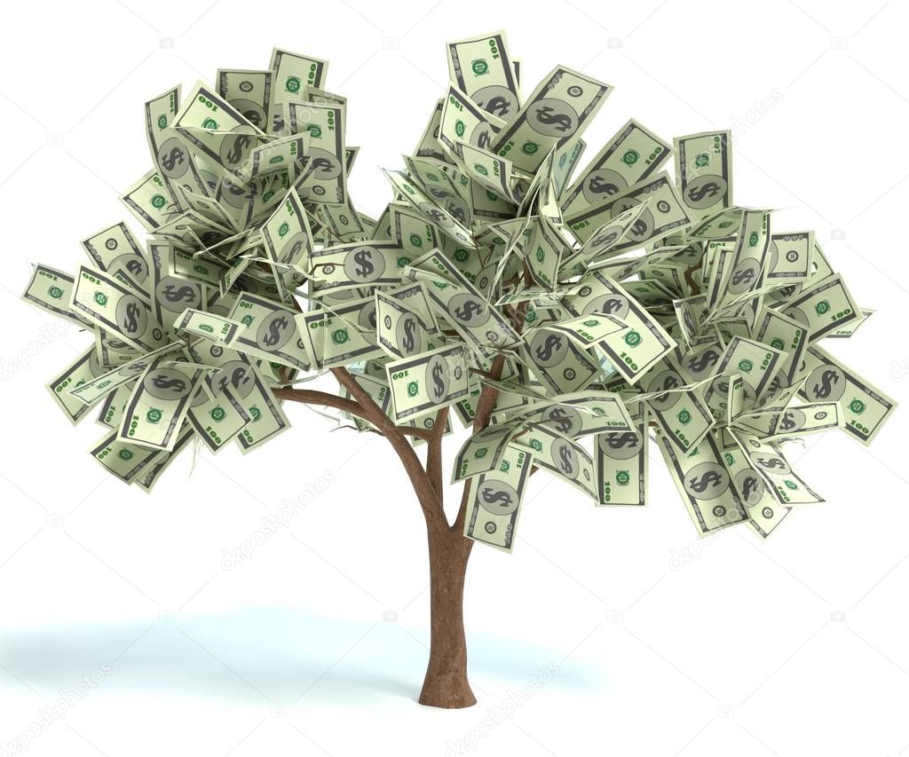 3d illustration of a money tree