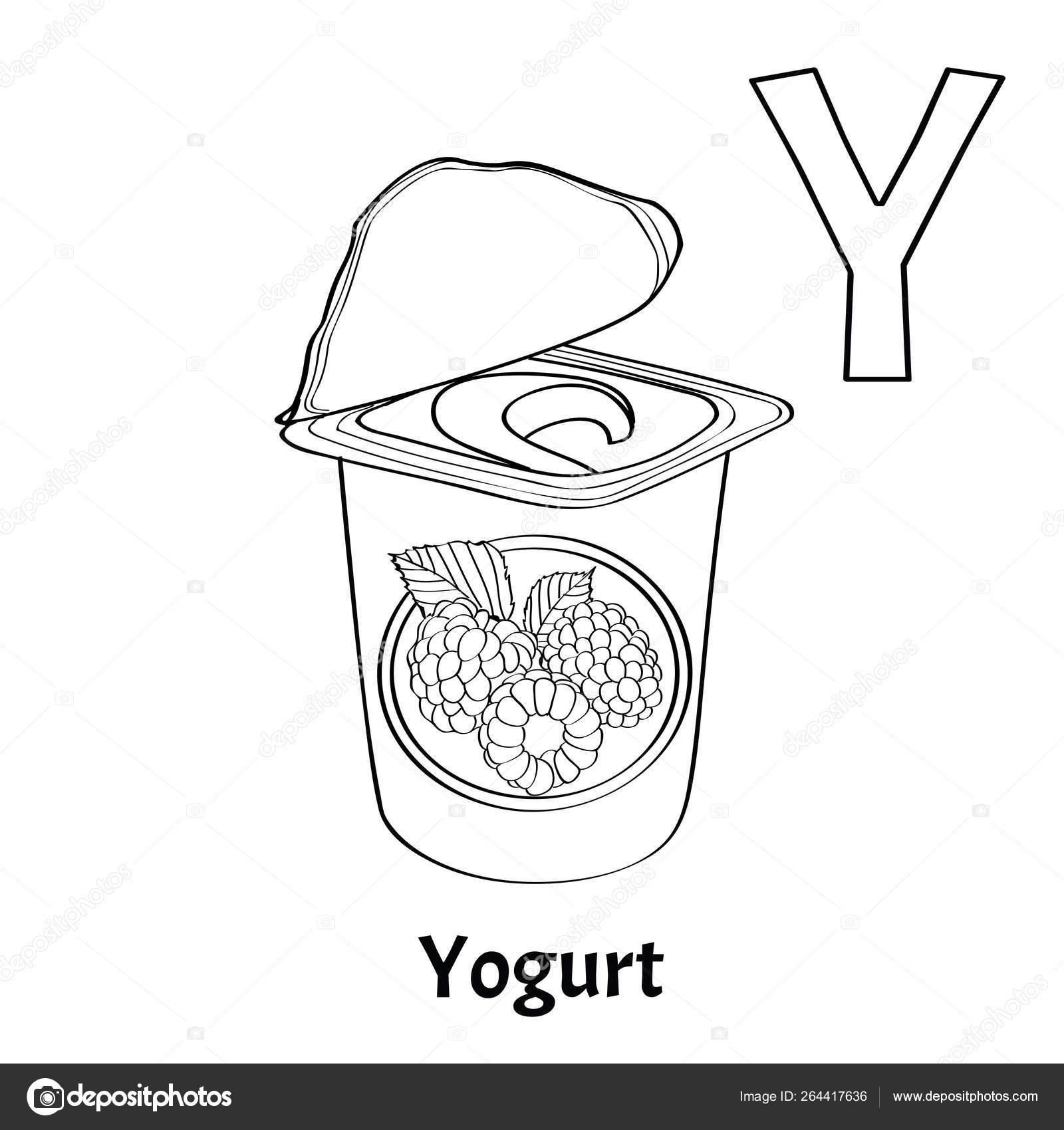 Letra Del Alfabeto Vectorial Y Página Para Colorear Yogur