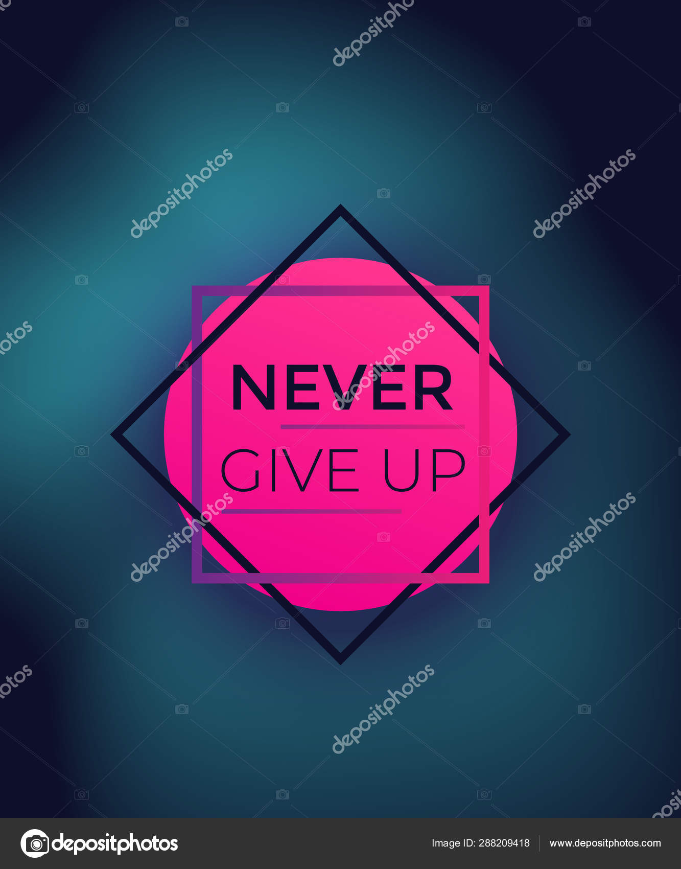 Nunca Te Rindas Cartel Con Frase Motivacional Archivo