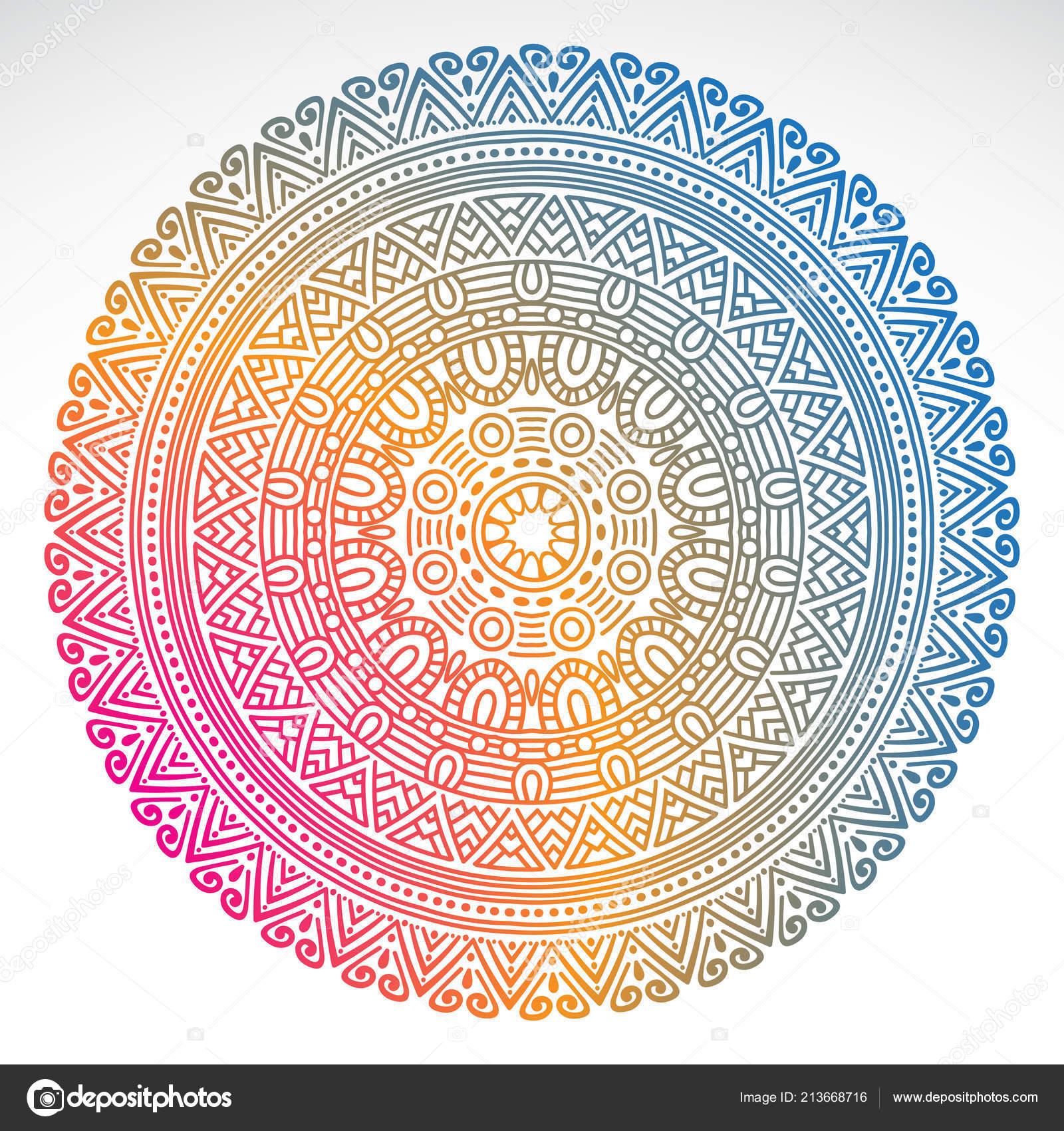 Mandala Rotondo Sfumatura Su Sfondo Bianco Isolato Vettoriali