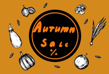 Autumn discount flyer with hand lettering and vegetables in graphic style
