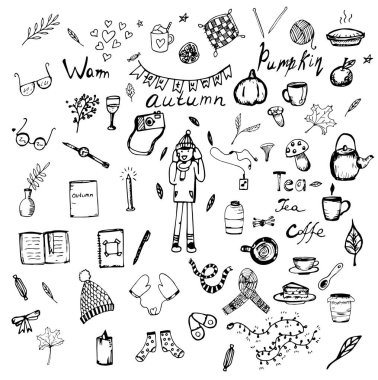 Set of 55 vector Doodle autumn sketches icon
