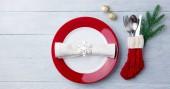 Fotografie Weihnachten, Silvester Feier statt Tabelle festlegen. Hölzerne Hintergrund. Kopieren Sie Raum. Ansicht von oben