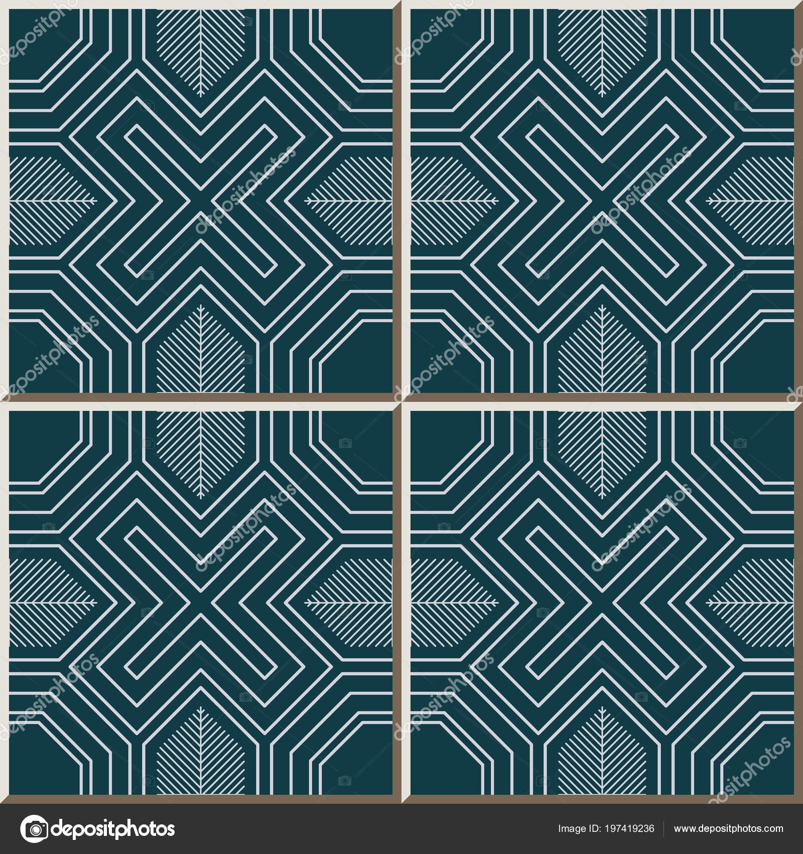 Ceramic Tile Pattern Polygon Cross Geometry Spiral Frame Line ...