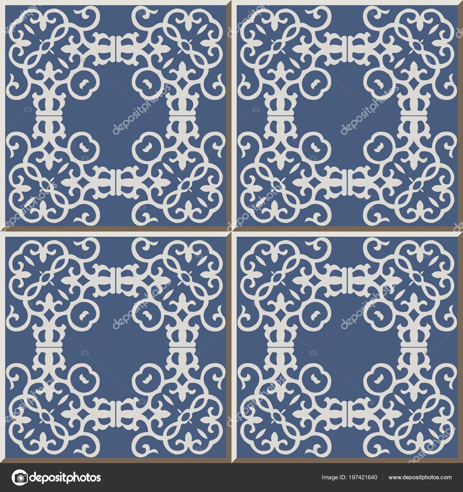 Ceramic Tile Pattern Spiral Vortex Curve Cross Square Frame Oriental ...