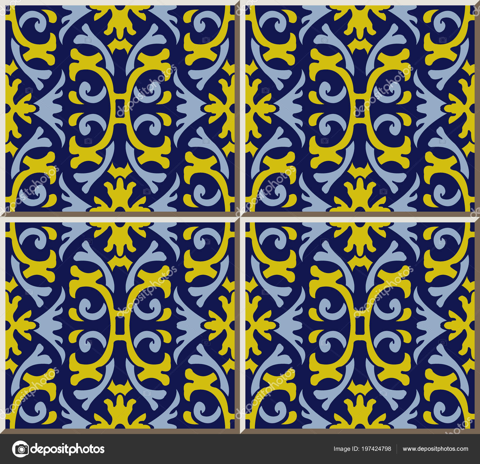 Ceramic Tile Pattern Spiral Curve Cross Frame Yellow Flower, Oriental