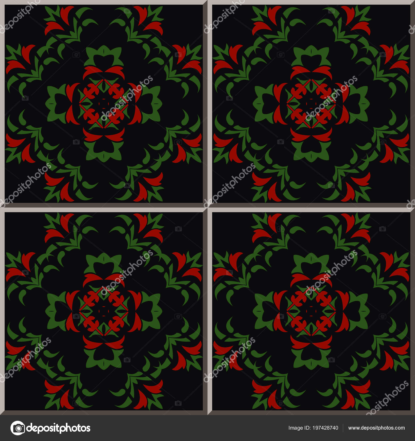 Ceramic Tile Pattern Botanic Garden Curve Cross Green Leaf Red Stock Vector C Kusabi 197428740