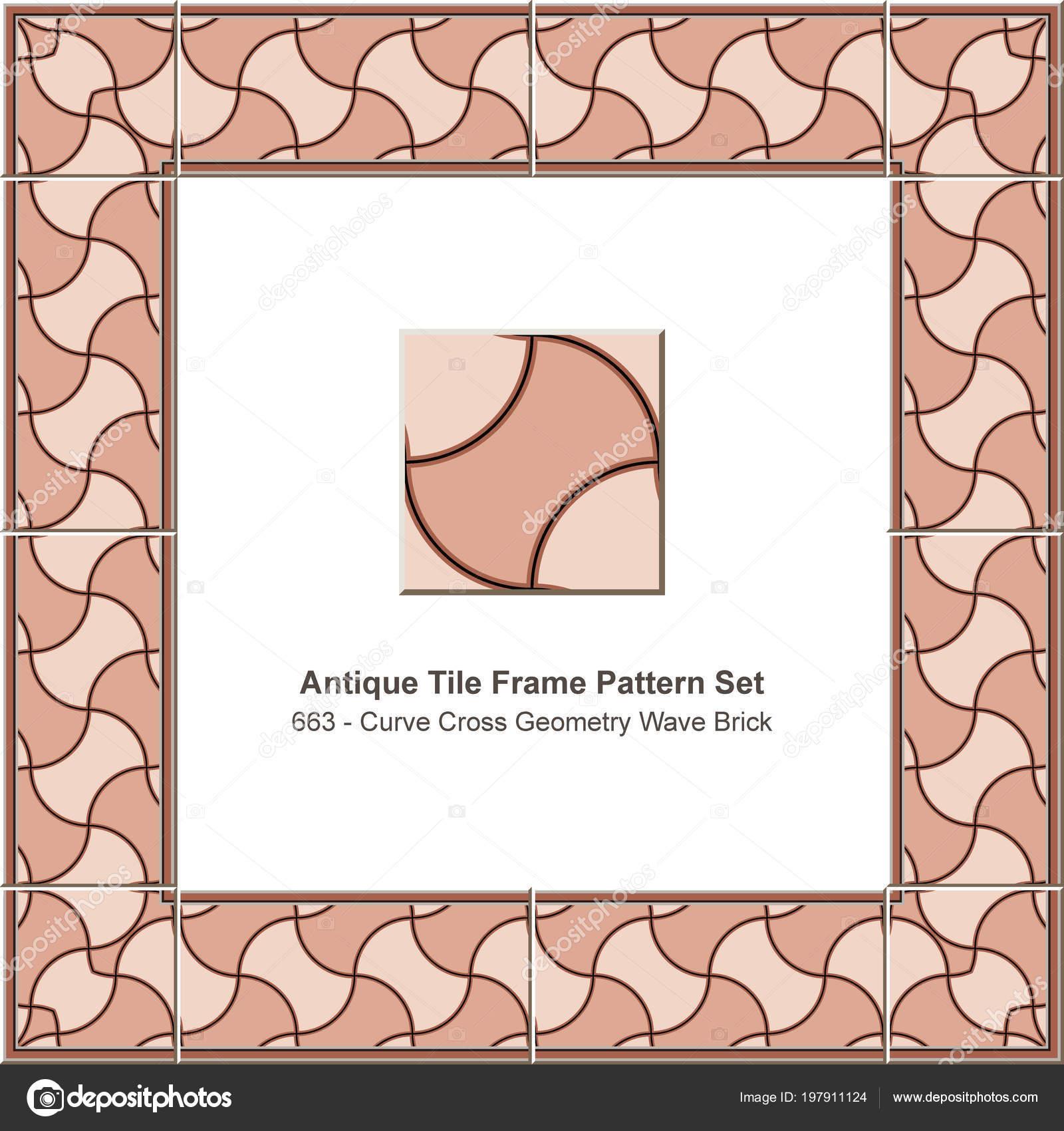 Antique Tile Frame Pattern Set Curve Cross Geometry Wave Brick ...