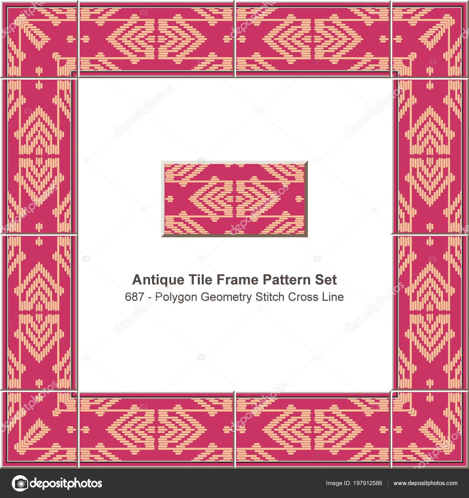 Antike Fliesen Rahmen Muster Set Polygon Geometrie Stich Kreuzlinie ...