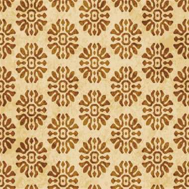 Retro brown cork texture grunge seamless background curve cross flower crest
