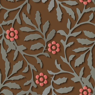 Seamless relief sculpture decoration pattern nature botanic garden red flower. Ideal for greeting card or backdrop template design