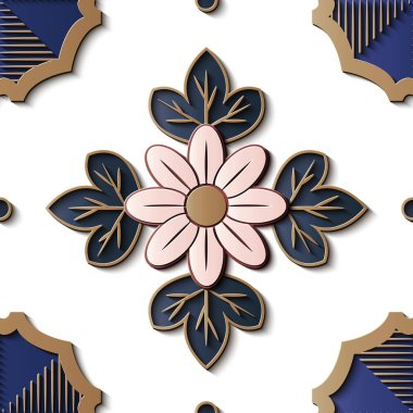 Seamless relief sculpture decoration retro pattern curve cross pink flower leaf gold frame line. Ideal for greeting card or backdrop template design