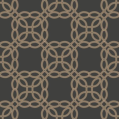 Vector damask seamless retro pattern background curve cross frame chain line. Elegant luxury brown tone design for wallpapers, backdrops and page fill.