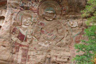 Chinese ancient traditional La Shao temple grotto relief paintin