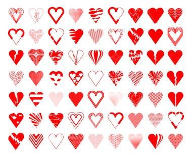 Heart set, broken and whole. Red colored heart icons, vector illustration collection. icon