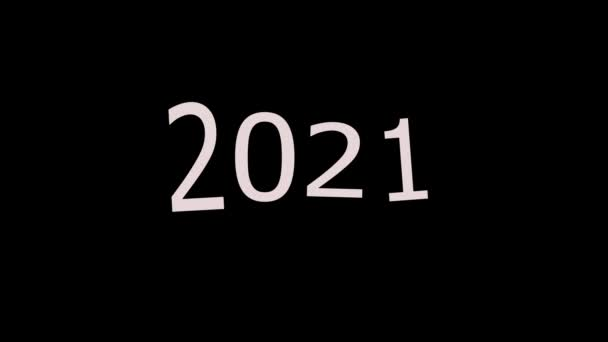New year 2021. Dark background with 2021 numbers in the center. Animation