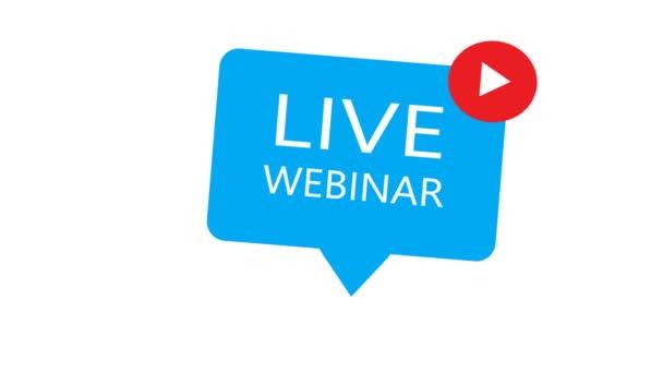 Live-Webinar. Geeignet für Gestaltungselemente aus Webinar-Streaming, Online-Seminar-Buttons, Internet-Kursen und Fernunterricht. Webinar-Banner. Animation
