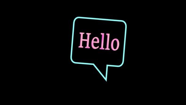 Animált hello szavak neon elemek hatása, világos neon fekete háttér