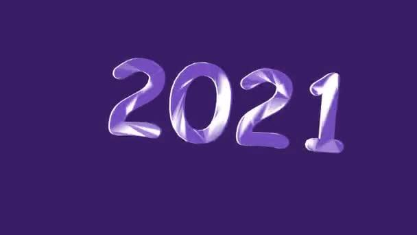 Új év 2021. 2021-es számok középen. Animáció