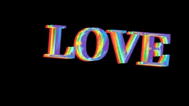Regenbogen-LGBT-Stoff und Text von LOVE Buntes Symbol von LGBTQ weht hinter Text