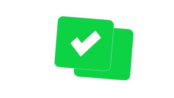 Zkontrolujte všechny ikony zelené. Izolovaný znak. Animace