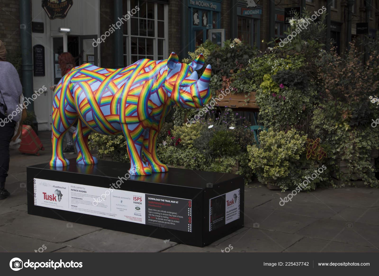 London September 2018 Fibreglass Rhino Sculpture Painted