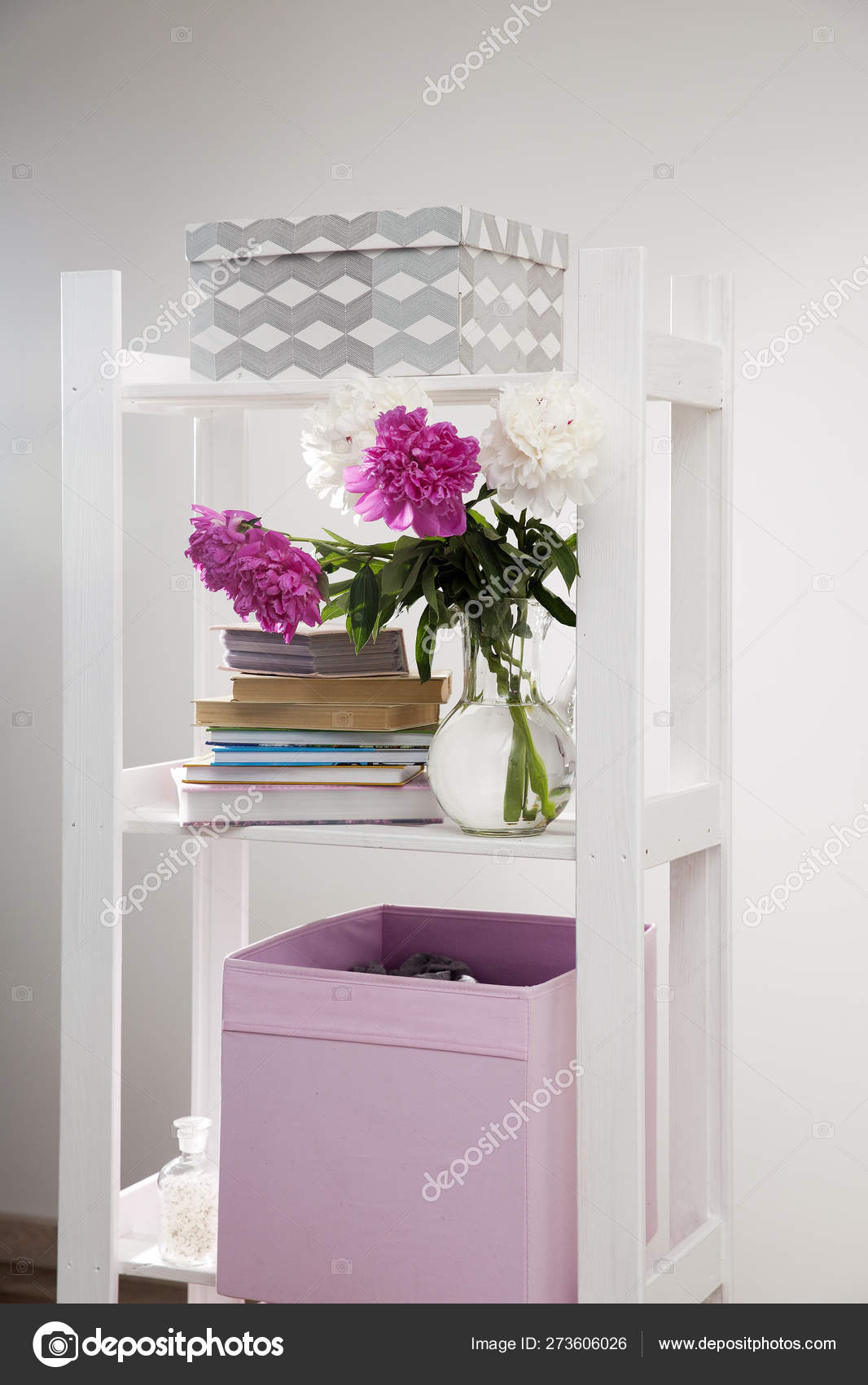 Fragment Of Bright Children S Room With A White Bookcase And