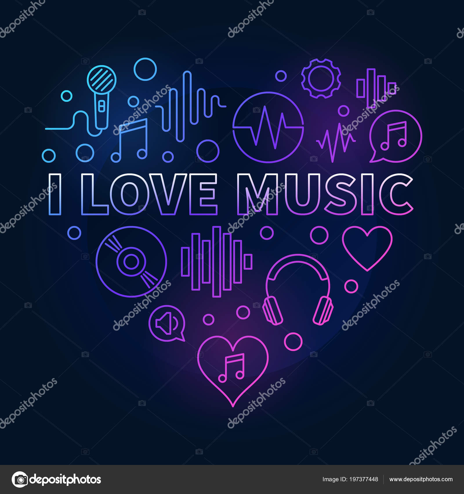 I Love Music Heart - colored linear illustration — Stock