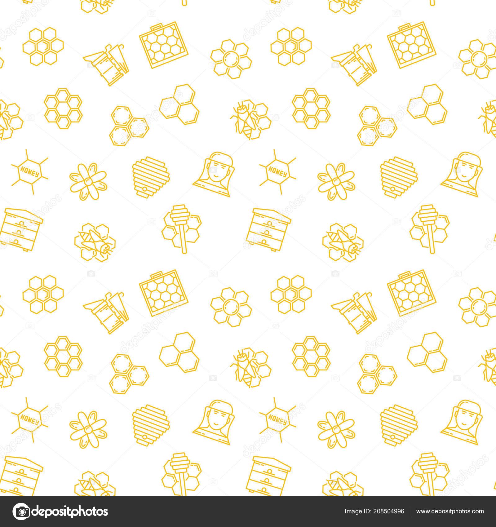 Apicultura y miel patrón transparente de vector o fondo — Vector de ...