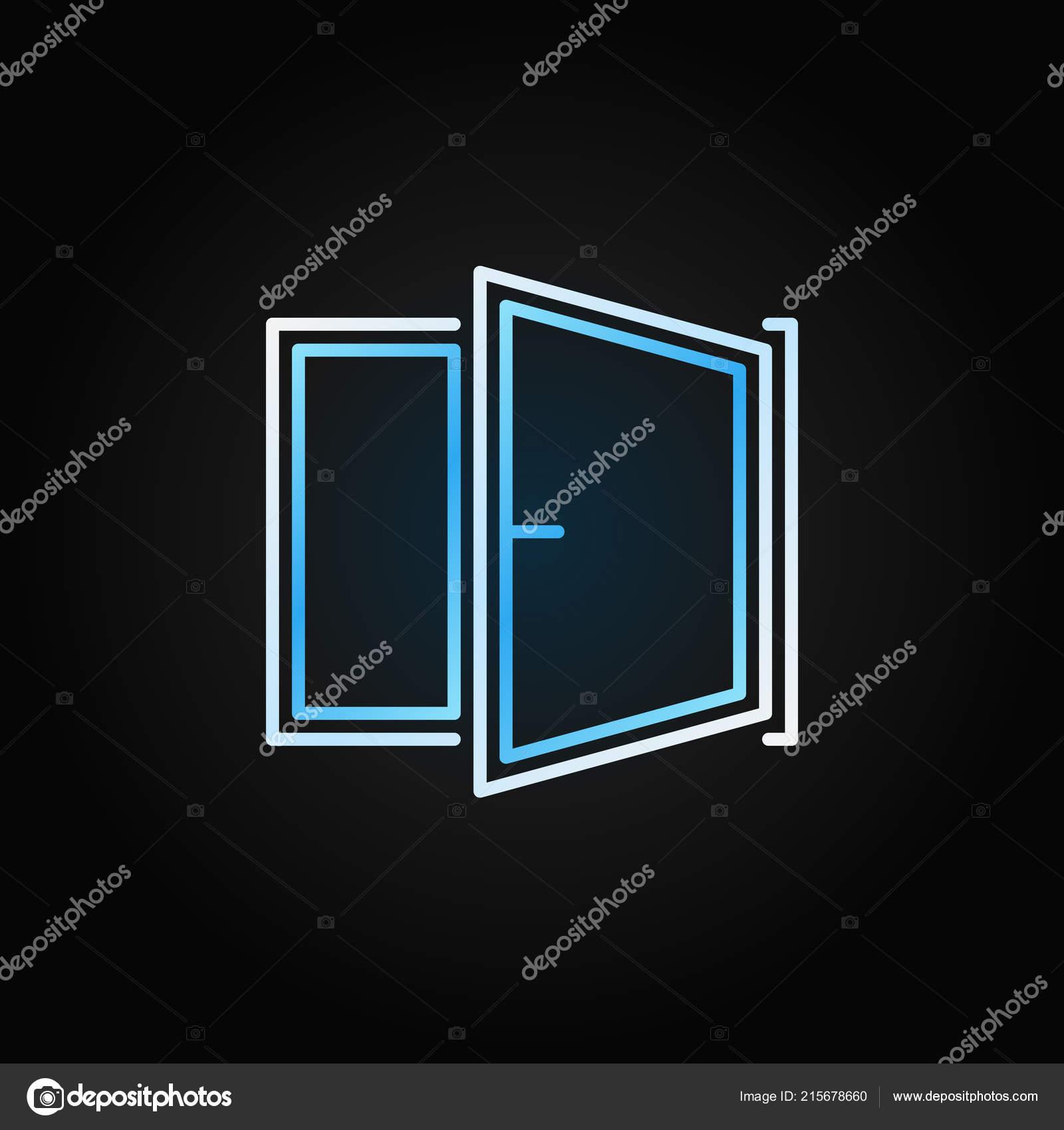 Window Blue Modern Icon Vector Open Window Symbol
