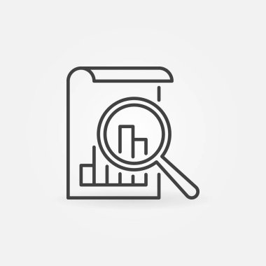 Document With Magnifying Glass vector icon in line style