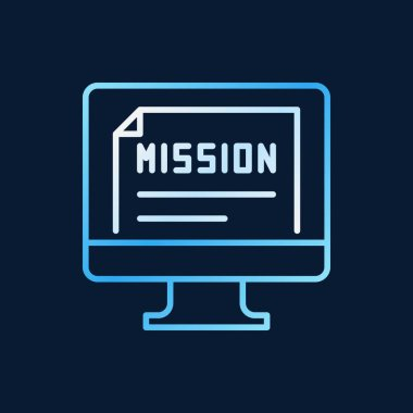 PC with mission document vector creative outline icon
