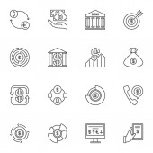 Dollar outline icons set. Vector USD and Money linear symbols
